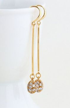 Dangle Earrings Gold Plated Cubic Zircona