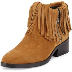 3.1 Phillip Lim Alexa Fringed Suede Ankle Bootie ($740) ❤ liked on Polyvore featuring shoes, boots, ankle booties, oak, fringe bootie, block-heel ankle boots, suede ankle boots, short fringe boots and suede bootie