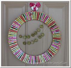 Sugar and Shimmer - Clothespin Wreath diy