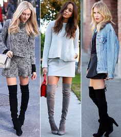 @Who What Wear - Biggest Flirt                 The thigh was the limit when it came to this year's boldest shoe trend: over-the-knee boots. With a sexy shape and slew of celebrity and street style admirers, Stuart Weitzman's Highland Boots ($750) were undoubtedly the most flirtatious of the bunch.  From left to right: Shea Marie of Peace Love Shea; Ashley Madekwe of Ring My Bell; Courtney Trop of Always Judging.