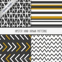 Collection of hand drawn hipster patterns