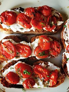 morsels & sauces: Cherry Tomato Crostini with Herbed Goat Cheese