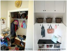 Wow check out the before and after.  Love this idea of taking your hall closet, and turning it into a true mudroom.  Plus you have more storage - The 2 Seasons