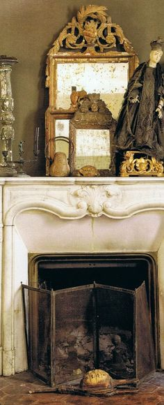 marble? fp, brass surround. a perfect gray: layering. for fall.