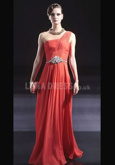 Classic One Shoulder Chiffon A line Zipper up Evening Gown   #eveningdress #partydress