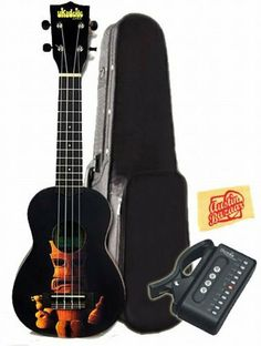 Kala KA-STIKI Ukadelic Series Soprano Ukulele Bundle with Hard Case, Tuner, and Polishing Cloth - Tiki by Kala. $108.00. Bundle includes Kala Ukadelic Series Tiki Soprano Ukulele with Hard Case, Tuner, and Polishing Cloth. Ukadelic captures all that is fun about a ukulele. These colorful ukes capture art, humor, and culture into their design. They are extremely playable and well made. Mahogany (laminate) construction, geared tuners, and Aquila strings. The design is...