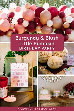 Burgundy & Blush Little Pumpkin Birthday Party via Karas festideer - KarasPar . November Birthday Party, Thanksgiving Birthday Parties, Fall First Birthday, Pumpkin First Birthday, 1st Birthday Party For Girls, Girl Birthday Themes, Birthday Ideas, Pumpkin Themed Birthday, 27th Birthday