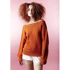 Pumpkin Pie. With a name like that, why wouldn't I love it? Fav squash, fav color. Cable down the arms, set off by drop stitch. Love the neckline.