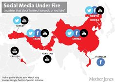 Countries that block social media sites #socialmedia