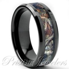 Tungsten Real Oak Forest Camo Ring Brown Mossy Tree Wedding Band Mens Black 8mm in Jewelry & Watches, Men's Jewelry, Rings | eBay
