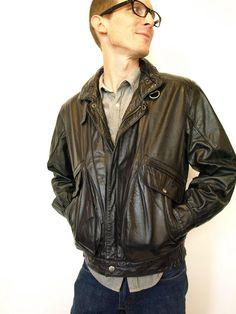 vtg 80s Black LEATHER Men's MOTO Biker motorcycle Jacket Asymm Zip ...