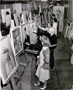 American Painting Factory where artists were hired by the Federal Art Project to turn out portraits of war heroes pg 51 LIFE magazine 17 Aug 1942 issue