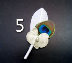 5 Peacock feather white orchid flower wedding party groomsmen lapel flower white boutonniere grooms boutineer orchid boutineer pin men lapel on Etsy, $60.00