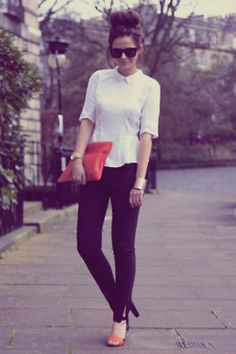 NOTE LADIES! Every girl must have a crisp white button up shirt. It's basic but you can apply it to Oh so many things! From work to casual with jeans. You'll do wonders with it and it will NEVER go out of fashion.