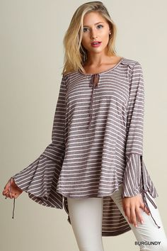 Umgee Ladies Wide Neck Top with Bell Sleeves High Low Hemline Two Colors S M L…