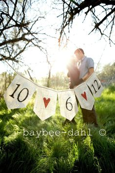 SAVE the DATE BURLAP Banner on Etsy, $17.99