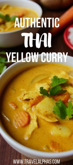 Making this authentic Thai yellow curry recipe is like taking a trip to Thailand, but without the jet lag and the expensive plane ticket. This Thai yellow curry is creamy, spicy, and healthy. And if y (Filipino Chicken Curry) Authentic Thai Yellow Curry Recipe, Thai Yellow Curry Recipe Vegetarian, Yellow Curry Recipe With Curry Powder, Non Spicy Curry Recipe, Curry Recipe Without Coconut Milk, Thai Food Vegetarian, Healthy Thai Food, Chinese Curry Recipe, Gastronomia