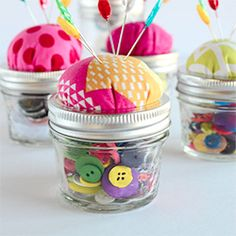 A simple craft that converts a canning jar a lovely pin cushion.