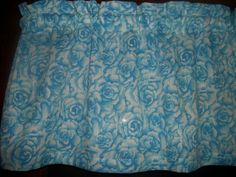 Blue Roses Flowers Floral fabric bedroom kitchen bathroom curtain topper Valance #Handmade