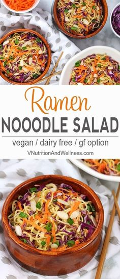 Ramen noodles are good for more than just soup! Switch things up and try them in this easy and colorful Vegan Ramen Noodle Salad! It's perfect for BBQs, potlucks or even to brighten a regular meal. Whole Foods, Whole Food Recipes, Dinner Recipes, Cooking Recipes, Healthy Recipes, Vegan Recipes Asian, Vegan Recipes For One, Potluck Recipes, Fun Recipes