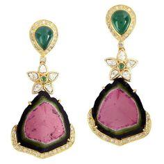Watermelon Tourmaline Earring with Diamonds and Emerald 1