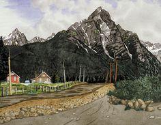 Mount Rocher de Boule near Hazelton, BC - 1968 watercolour E J Hughes Canada Landscape, Landscape Art, Landscape Paintings, Landscapes, Emily Carr, Group Of Seven, Western Canada, Canadian Artists, Watercolours