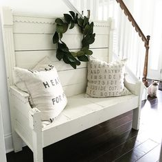 Rustic Farmhouse Bench | See this Instagram photo by @abowlfulloflemons
