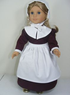 SALE!!  Price lowered ---American Made 18-inch Girl Doll Dress Burgundy Pilgrim Outfit