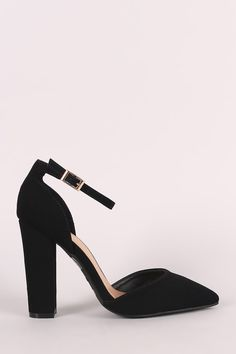 This alluring single sole pump features a pointy toe silhouette, scooped vamp, and chunky wrapped heel. Finished with an adjustable ankle strap with buckle fast Pump Shoes, Pumps, Heels, Leather Men, Ankle Strap, Boots, Bamboo, Fashion, Heel