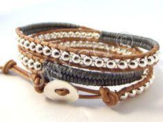Trendy leren triple herringbone wrap grijs/zilver van Unycq  op DaWanda.com