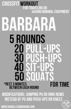 CrossFit Workout for Traveling or Having Minimal Equipment: Barbara - Pull-ups, Push-ups, Sit-ups, & Squats Fitness Gym, Fitness Workouts, Fun Workouts, Fitness Tips, Fitness Motivation, Health Fitness, Fitness Equipment, Cross Fit Workouts, Cross Fitness