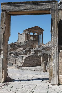 """TUNISIA - Dougga - Dougga because a UNSECO World Heritage Site in 1997. It is said to represent """"the best-preserved Roman small town in North Africa"""""""