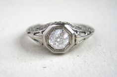 Art Deco Engagement Ring with Est. .50ct Old European Cut Diamond in 18k White Gold #engagement
