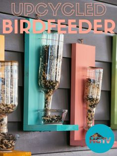 DIY Upcycled Glass Bottle Birdfeeder>> http://videos.hgtv.com/video/etc/sni-asset/hgtv/videos/0/02/026/0266/0266828.html?soc=pinterest