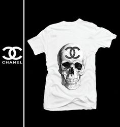 CHANEL skull logo 7 handmade high quality detailed silk screen by hand printed white men t shirt