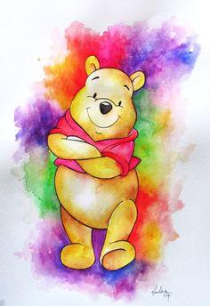 Winnie the Pooh Splash - childrens art Whinnie The Pooh Drawings, Winnie The Pooh Tattoos, Cute Winnie The Pooh, Winne The Pooh, Winnie The Pooh Quotes, Winnie The Pooh Friends, Disney Artwork, Disney Fan Art, Disney Drawings