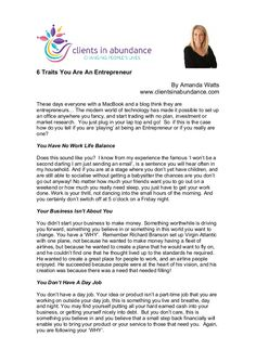 6 Traits You Are An Entrepreneur by Amanda Watts via slideshare #health #wellness #fitness #marketing