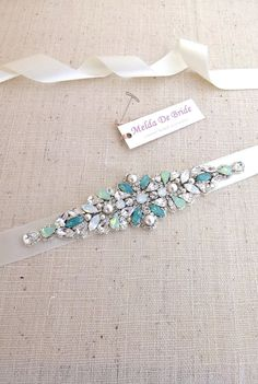 Swarovski Bridal Belt  sash  Opal Crystal by MeldaDeBride on Etsy