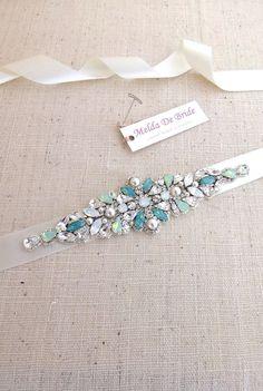 Swarovski Bridal Belt  sash  Opal Crystal by MeldaDeBride on Etsy