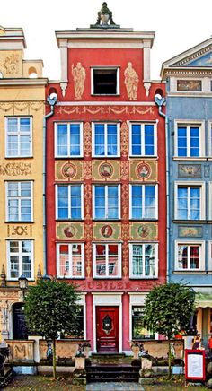 The fragment of Old Town in Gdansk. Tenement houses by Long Market street.