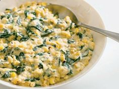 Grilled creamed corn with spinach and parmesan, from Giada De Laurentiis