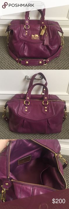 COACH Purple Handbag Adorable purple purse made by coach. Has a few small unnoticeable stains on the inside of purse. Worn only a few times- in great condition. Can be worn for casual day or worn for a party. Adds a pop of color to your outfit. Coach Bags Shoulder Bags