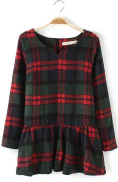 Plaid Print O-neck Long Sleeves Wool Dress, for winter but whatever