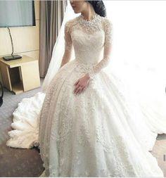Princess Wedding Dress 2016 High Neck Long Sleeves Embroidery Beading Court Train Dubai Bridal Gown Romantic bride Dress