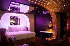 A Stunning Hotel Le Seven with Themes: Queen Size Bed Ceiling Mirror Awesome Hotel Le Seven Bedroom Interior ~ rentwithjd.com Hotel Inspiration