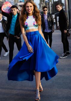Royal Blue Two Piece Print Fitted Crop Top Satin High Low Prom Dress
