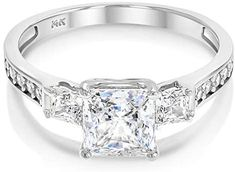 Ioka - 14k Solid Yellow OR White Gold 1.5 Ct. Cubic Zirconia CZ 3 Stone Princess Cut Engagement Ring Band