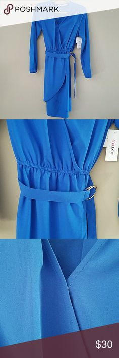 JUST FAB blue dress Long sleeves. Removable belt. Snap by chest. Flowy and super cute for work or dinner. NET. JustFab Dresses