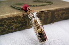 Pequeno frasco de vidro tampado com rolha, com pedacinhos de musgo e pétalas de flores secas dentro. Um pouquinho de natureza pra carregar com você. Um cristal rondelle vermelho o enfeita.  Comprimento da corrente: 46 cm Tamanho do frasquinho: 3 cm (com rolha) R$19,00