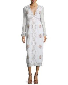 VILSHENKO Embroidered V-Neck Midi Dress, Ivory/Multi. #vilshenko #cloth #